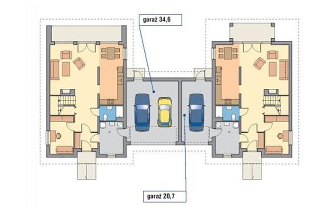 Garaż dwustanowiskowy w jednym z segmentów bliźniaka