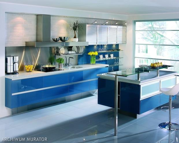 Niebieski kolor w kuchni 10 aranżacji nowoczesnych   -> Kuchnia W Kolorze Niebieskim